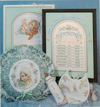 1989 Baby Cuddles & Snuggles Cross Stitch Grandma & Pa Bunnies Bear Pattern Book - $12.99