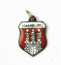 800 Fine Silver Antiko Hamburg Castle Enamel Travel Charm 15mm x 11mm - $9.89