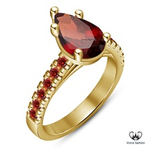 Solitaire W/ Accents Wedding Ring Pear Shape Red Garnet 14k Gold Over 92... - $75.99