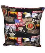 Marines Pillow United States Marines Pillow Patriot Pillow HANDMADE in USA - $11.96