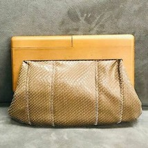 Sondra Roberts Squared Faux Snakeskin Clutch with Wood Frame - $58.41