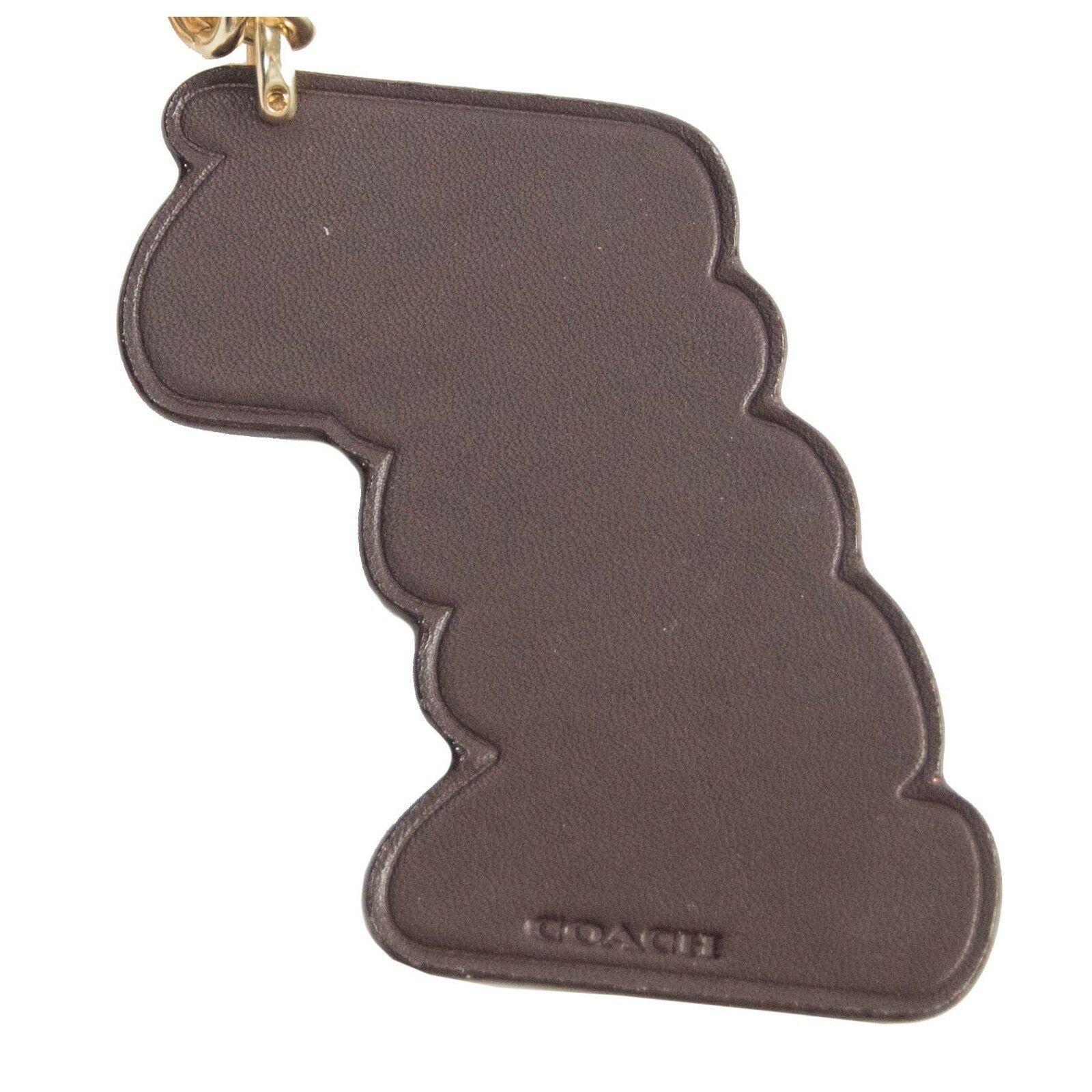 Coach Oxblood Leather Pink Glitter Retro Logo Key Chain Bag Charm 35546 NWT image 5