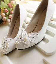 Bridal Shoes low heel Ivory White,Bridal Shoes Lace Butterfly UK Size 2,... - £30.95 GBP