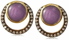 "Blossom Box 3/4"" Gold Plated 10mm Purple Amethyst & Crystal Stud Earrings NWT image 1"