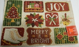 "Set of 2 Tapestry Placemats, 13""x19"", CHRISTMAS, WINTER THEME, MERRY & B... - $12.86"