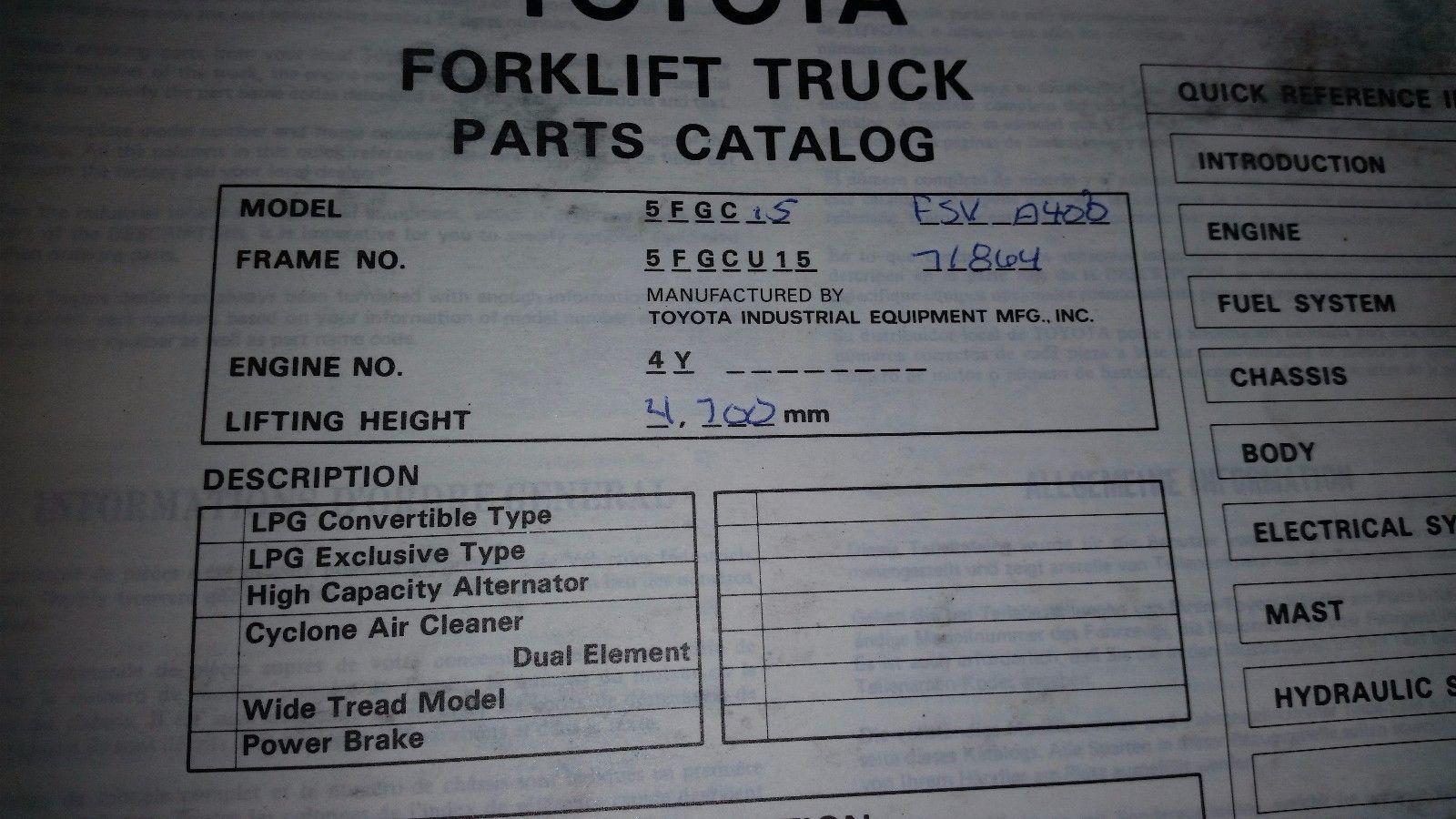 Toyota Forklift 5fgc10,13,15  Parts Catalog Manual