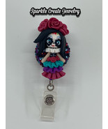 Día de Muertos Clay Bling Rhinestone Rectractable Badge Reel - $22.55