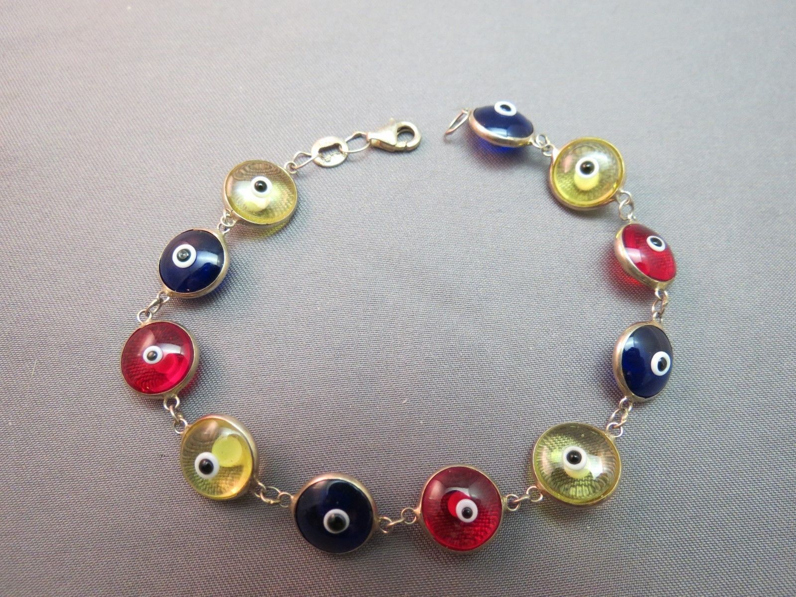 "Primary image for Sterling Silver Eye Ball Bracelet Clear Multi Colored Beads 7.4 Grams 7"" Long"