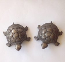 Handcrafted vintage collectible SET of 2 home decorative tortoise brass ... - $34.65