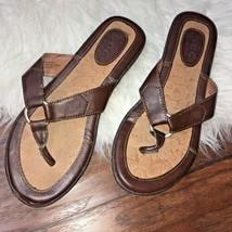 dd7f29dd6431 BOC Born Womens Size 7 M Sandals Leather Flip Flops Brown -  23.13