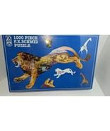 Vintage 1999 FX Schmid 1000 Piece Animal Puzzle Lion Pride of the Plains 98166 - $19.79