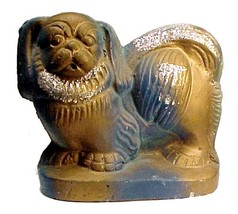 62481a vintage chalkware pug nosed dog puppy chalk figurine blue brown with silver mica thumb200