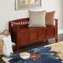 Brown Storage Bench Flip Top  Solid Wood Rustic Living Room Furniture Ho... - £127.93 GBP
