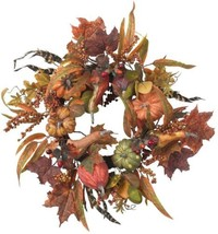 24 in Artificial Wreath w/ Pumpkins Berries and Maple Leaves Nearly Natu... - $83.93