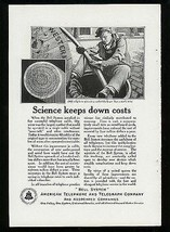 Manhole Cover Lineman Cable Telephone Wires 1922 Ad Bell System Communic... - $14.99