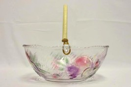 Large Oval Bowl Fruit Pattern With Wooden Bamboo Handle Easter Basket - $14.85
