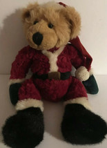 "Russ Berrie 15"" RARE Santa Bear Bean Paws & Tush Plush Vintage Stuffed Animal - $19.99"