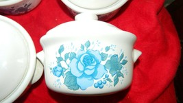 "Corning Corelle BLUE VELVET 5"" Soup Crock Casserole Bowl w/Lid X 4 Jay Imports - $46.74"