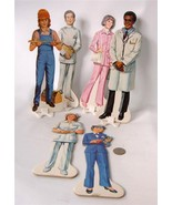 Vintage 60s-70s Cardboard Cut Outs People Lot of 6 Professions 2 sided 9... - $29.69