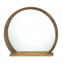 Contemporary Round Wood Framed Tabletop Mirror with Shelf - $35.99