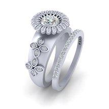 Classic Flower Art Nouveau Wedding Ring Set Diamond Engagement Ring Eternity Set - $2,279.99