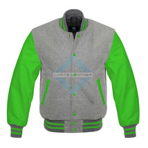 American Letterman College Varsity Gray Wool Jacket/Real Leather Sleeves... - $92.99