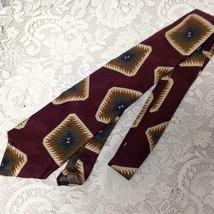 Talbott Studio - Burgundy Printed Silk Neck Tie 57in x 4in - $11.35