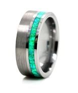 Green Opal Ring Purple Opal Ring Tungsten Wedding Band - $76.19