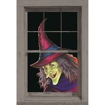 Reusable 3'x5' Halloween Single Window Poster Decoration Wicked Witch - $18.80