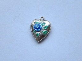 Vintage Sterling silver enameled puffy heart charm- BLUE ROSE - €27,07 EUR