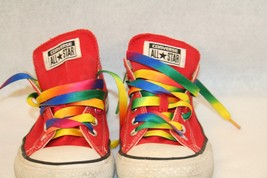 Converse All Star Canvas Low Red 6 1/2  Shoes Multi-color Rainbow laces ... - $49.95