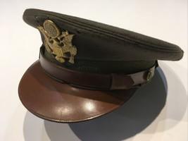 Original WWII U.S. Army Officers Wool Fur Felt Visor Cap Label Size 7 1/8 - $84.11
