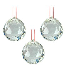 """LOT of 3 FENG SHUI HANGING CRYSTAL BALL 1.5"""" 40mm Sphere Prism Faceted W... - $11.88"""