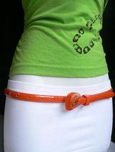 Neu Damen Mode Gürtel Trendy Skinny Hell Orange Kunstleder Schnalle S M image 11
