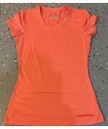 Women's Under Armour HeatGear Fitted Short Sleeve T-Shirt Orange Peach S... - $14.03