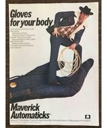 1977 Maverick Automaticks Jeans Ad Gloves For Your Body Cowboy Lasso in ... - $11.69