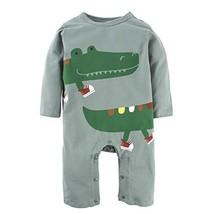 BIG ELEPHANT Baby Boys'1 Piece Cute Crocodile Long Sleeve Romper Pajama ... - $24.62