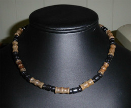 """TRIBAL Wood & Hematite BEAD Necklace About 16"""" Long - $23.39"""
