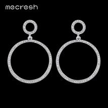 Silver/Pink Color Crystal Round Drop Earrings for Women - $10.95