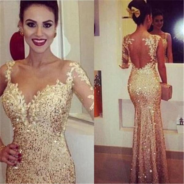 Gold sexy mermaid elegant party cocktail evening long prom dresses online pd0178