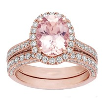2.00ctw AAA Morganite 14K Rose Gold Over Silver Engagement Halo Bridal Ring Set - $116.79