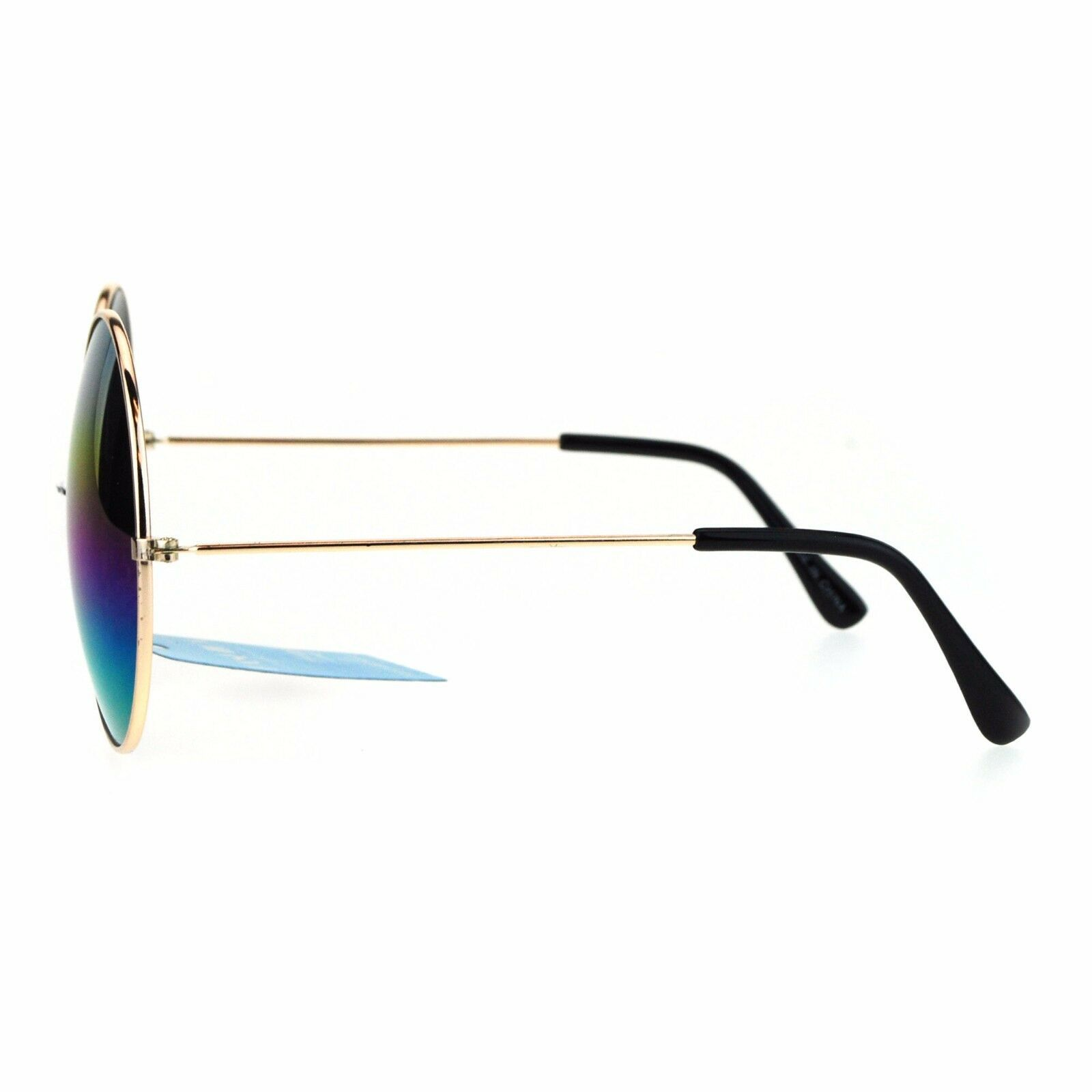 Rainbow Mirror Lens Sunglasses Womens Oversized Round Circle Metal Frame