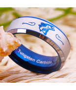 Fishing Hunting Hobby Fish and Fish Hook Logo Tungsten Carbide Ring Blue... - $32.99
