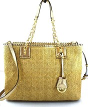 AUTHENTIC NEW NWT MICHAEL KORS $298 STRAW ROSALIE BROWN PALE GOLD LARGE ... - $138.00
