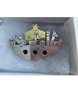 Vintage Noah's ARK Sterling Silver and Brass Brooch Pendant Signed - $38.37