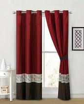 4-P Lotus Flower Embroidery Curtain Set Burgundy Brown Beige Grommet Drape Sheer - $40.89