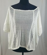 Free People Damen Sp Weiß Strick Boxy Kurzarm Häkel Top Lagenlook image 1