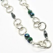 Necklace the Aluminium Long 60 Inch with Hematite Faceted Crystal & image 5