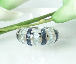 Sterling Silver Midnight Sapphire Blue Topaz Gemstone Ring Size 6 - $39.00