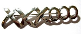 PIN VINTAGE X AND O HUGS AND KISSES SILVER TONE  - $24.00